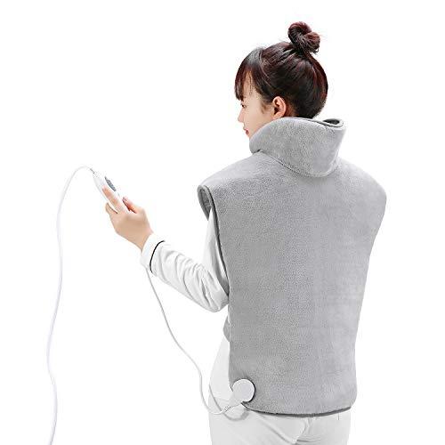 Heizkissen für Rücken Schulter Nacken 60 x 85 cm, Rückenwärmer Nackenheizkissen mit Abschaltautomati & Überhitzungsschutz & Schneller Erwärmung, Schulter Nackenschmerzen lindern
