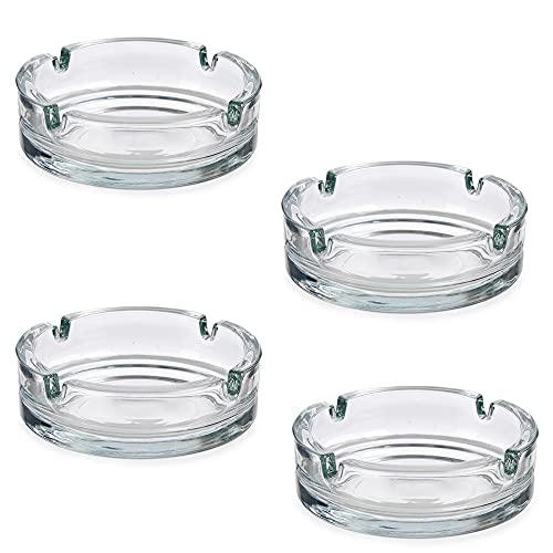 Cenicero de Cristal para cigarrillos - Cenicero de Vidrio Transparente - Ceniceros Exterior para Cigarros Uso Privado y Gastronómico - Pack de 4