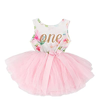 Grace & Lucille - Baby Girl Birthday Dress | Floral Pink Tutu Dress | Sleeveless Gold Number Dress | 6-12 Months | 1T | Pink Floral