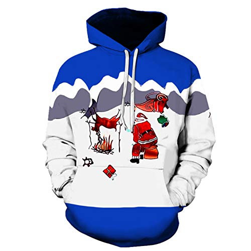 XIKONG Sudadera con capucha para hombre, impresión 3D, imagen de Navidad, manga larga, con cordón, casual, color blanco, XXXXXL