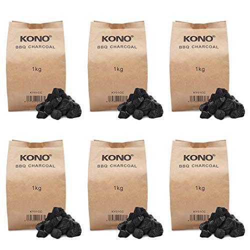 Kono Instant Light BBQ Charcoal Briquettes 6x1KG - Perfect for Charcoal...
