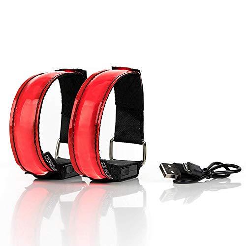 2 pulseras LED con luz para arriba pulseras LED intermitentes deportes seguros tiras de luz pulseras USB recargables resplandor