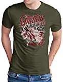 OM3 - Camiseta para hombre, diseño indio, tallas S - 4XL verde oliva XXL