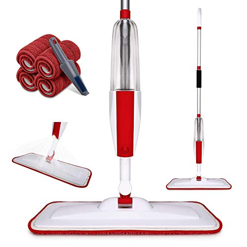 Anncain Spray Mop, Microfiber Pads (Machine Washable) with 4PCS,360 Degree...