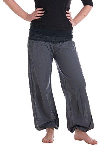 Vishes - Alternative Bekleidung - Sommer Chino Haremshose aus Baumwolle mit super elastischem Bund - handgewebt grau