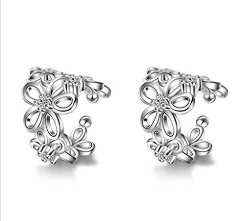 Boowhol Pendientes de clip sin agujeros para mujer y niña, diseño de rosas, huecos, de plata de ley
