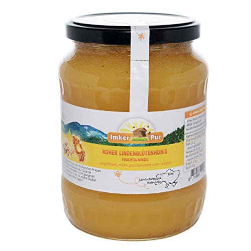 Ruwe honing uit ImkerPur, ongefilterd, niet gecentrifugeerd of verhit, bevat bloempollen, bijenwas, propolis, bijenbrood en koninginnengelei (1000 g ruwe lindebloesemhoning)