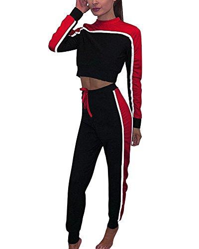 Tomwell Donna 2 Pezzi A Righe Manica Lunga Tuta da Ginnastica Jogging Sportiva Pullover Felpa Top E Pantaloni Rosso IT 48