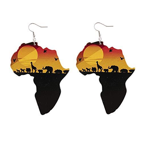 six-day Pendientes africanos de madera pintados, aretes de gota, estilo étnico, aretes colgantes para mujer