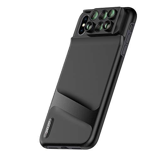 OWSOO Capa de telefone com lente dupla para câmera para iPhone XS Max 6 em 1 Fisheye lente macro grande angular telescópio lente zoom com capa protetora de telefone TPU