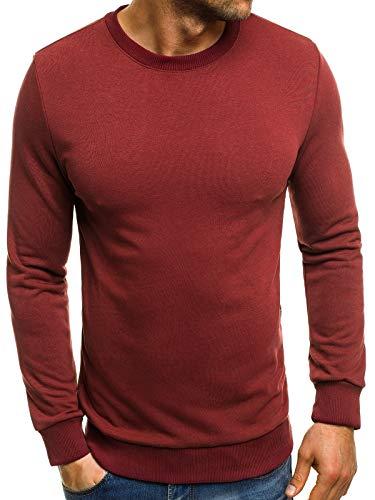 MOODOZ Herren Sweatshirt Langarmshirt Pullover Pulli Klassiker Basic MOODOZ 0171715 L WEINROT