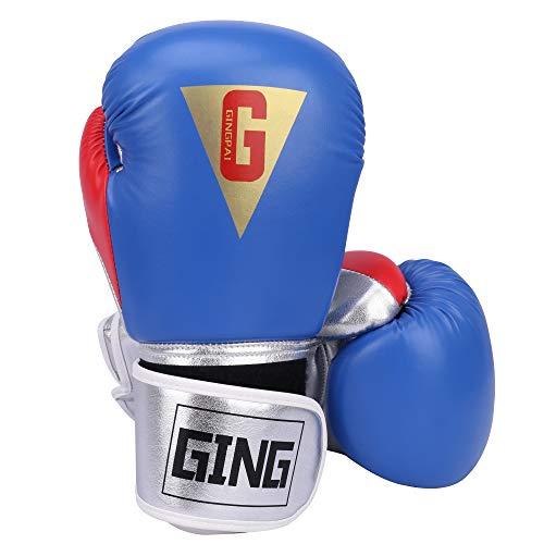 GINGPAI Boxing Gloves for Men Women,Leather Boxing Gloves for Punching Bag,Kickboxing,Muay Thai Fighting Gloves (G-Blue, 8oz)