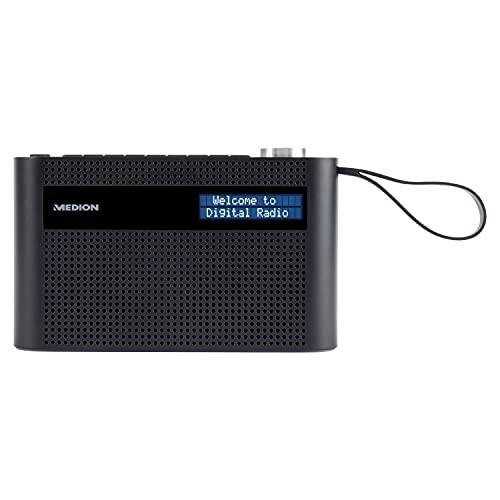 MEDION P66007 tragbares DAB+ Radio (DAB Plus, UKW, Bluetooth, 60 Senderspeicher, dimmbares Display, integrierter Akku, Teleskopantenne) schwarz