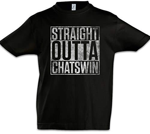 Urban Backwoods Straight Outta Chatswin Kinder Jongens T-Shirt Zwart Maat