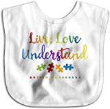 Live Love Understand Autism Awareness Toddler Newborn Boys Girls Toalla de saliva amigable con la piel Baberos para bebés-Blanco