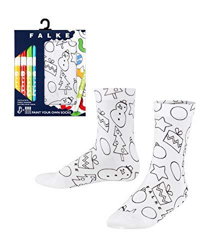 FALKE Unisex Kinder X-Mas Paint Your Own Socken, Weiss (White 2000), 31-34 (7-9 Jahre)