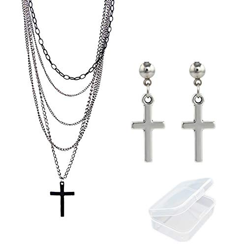 Multi-Layered CHain Necklace with Crucifix Pendant and Earrings. Ideal for Madonna Look.
