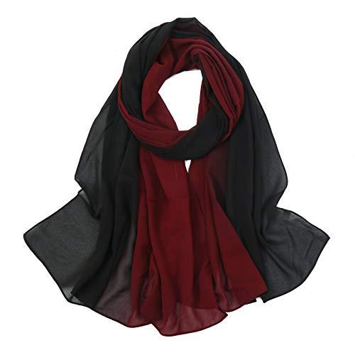 Blend Ombre Chiffon Hijab Muslim Gradient Plain Hijab Style Outfit Chiffon Shaded Head Wraps for Women (Maroon+Black)