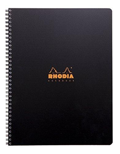 Rhodia 119900C Notizbuch (mit Doppelspiralbindung, DIN A4, 21 x 29,7 cm, kariert, 90 g, 80 Blatt) 1 Stück schwarz