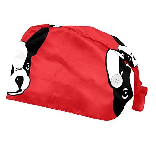 2 Pack Cute French Bulldog Red Pattern Work caps with Sweatband for Women Men, Bouffant Scrub Turban Cap