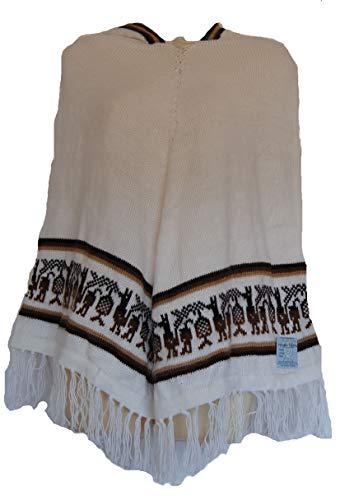 Terrapin Trading Fair Trade Frauen 100% Alpaka-Wolle - Woll-Kapuzen Poncho aus Bolivien (2015) (weiß)