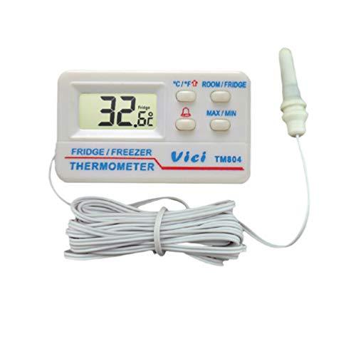 Hemobllo réfrigérateur congélateur thermomètre alarme haute basse température alarmes affichage numérique pour cuisine intérieur extérieur (blanc)
