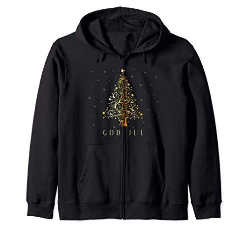 God Jul Albero di Natale svedese Addobbi natalizi Svezia Felpa con Cappuccio