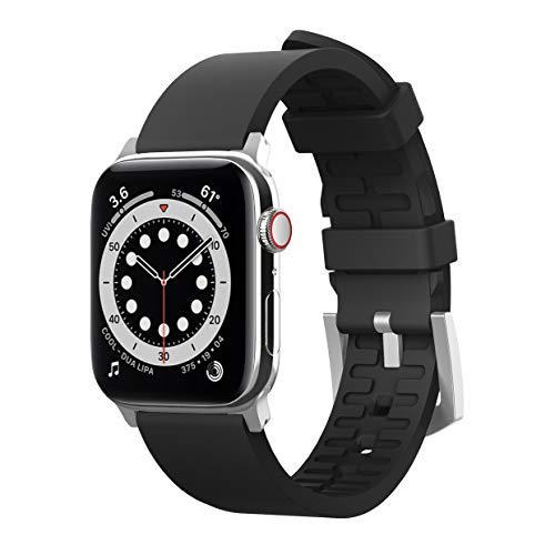 elago Sport Band Compatible with Apple Watch Band 38mm 40mm 42mm 44mm for iwatch Series 6/SE/5/4/3/2/1 - Premium Fluoro Rubber Material (Black)
