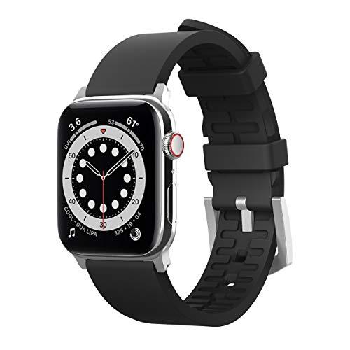 elago Premium Correa Deporte Compatible con Apple Watch Band 38mm 40mm 42mm 44mm, para iWatch Series 6 SE (2020) 5 4 3 2 1, Material Fluoro Goma Smartwatch Reemplazo Band (Negro)