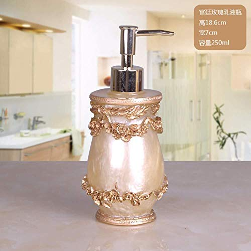 Tangrong Vloeibare zeep Container, Vintage Refillable Ceramic zeepdispenser for Keuken Badkamer, Golden Bloemen rijgen Carving Natural Eco Resin Shampoo Liquid Hand Sanitizer fles, 250ml