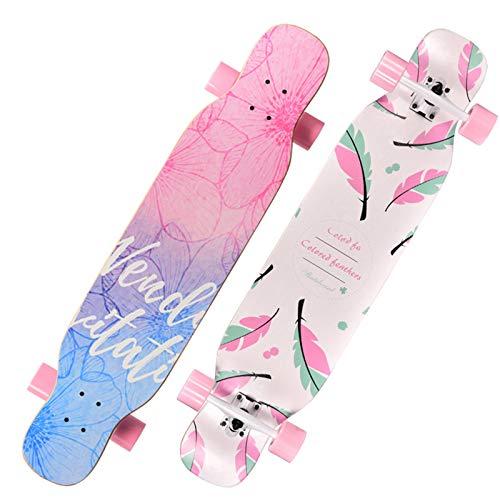 qwert Complete Longboard Skateboard 107x23.5cm 8 Layers Maple Deck Longboard Skateboard,Board Cruiser Longboard - Dance Longboard Adults,Boys,Girls,Youth