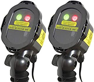 BlissLights Mini Duo RG Multicolor Laser Projectors - Indoor/Outdoor Decorative Landscape Lighting for Holidays, Parties, Events (Red, Green) - 2-Pack