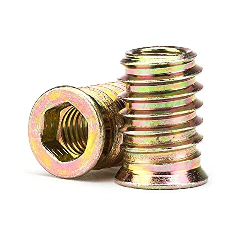 M6 Zinc Alloy Iron Inside Carbon Steel Hex Socket Drive Insert Nuts Threaded Fastener Connector for Wood Furniture Assortment