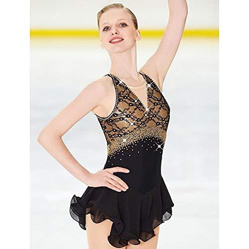 LWQ Eiskunstlauf-Kleid-Frauen-Mädchen Eislaufen Kleid Schwarz Open Back Spandex Elastan Spitze hohe Elastizität-Wettbewerb Skating,Child 10