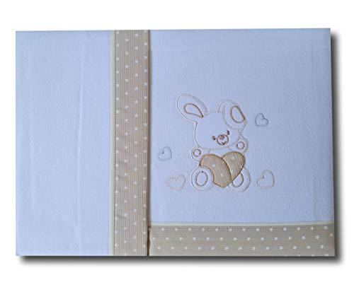 Galitex - Set di lenzuola in flanella per culla bambino, Maxculuna 70 x 140 cm, 3 pezzi, cotone 100% , Made in EU (bordo stelle, coniglietto cuore beige)