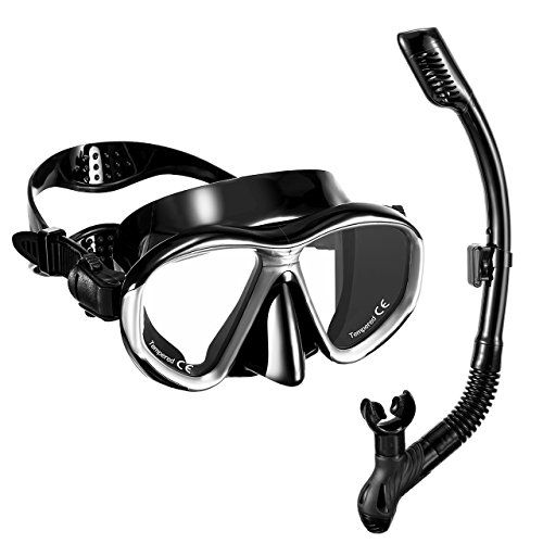 OMORC Snorkel Set,Anti-Fog Snorkel Mask with Impact Resistant Panoramic Tempered...