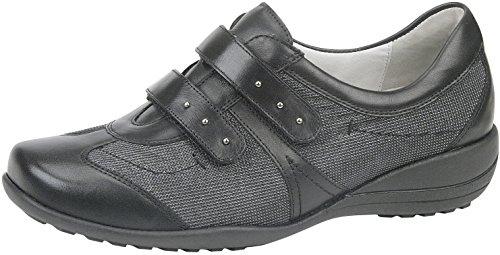 Waldläufer Damen Slipper grau KATJA Weite-K extraweit Leder Größe 39 bis 42, Damen Größen:41, Farben:schwarz