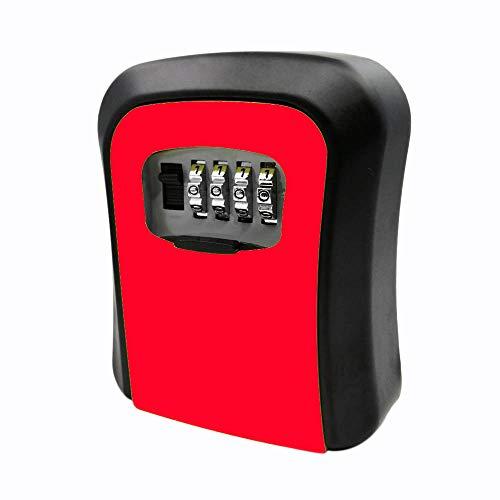 cherrypop Caja roja de la cerradura de la llave de la contraseña Caja de llave montada en la pared de la aleación del cinc a prueba de mal tiempo 4 dígitos