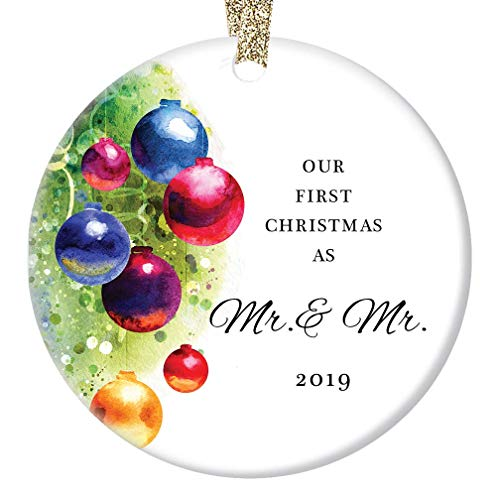 Gay Couple Marriage Christmas Ornament 2019 Our First Christmas Married Mr & Mr Husband Life Partners Wedding Present Festive Holiday Ceramic Keepsake 3' Flat Porcelain w Gold Ribbon & Free Gift Box