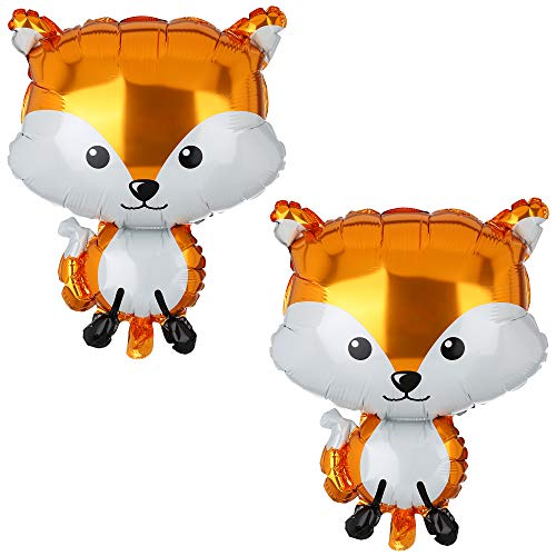2 Pcs Fox Shaped Great Mylar Foil Critter Balloon Woodland Themed Party Birthday Baby Shower Decorations