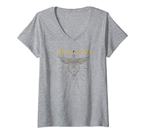 Women's Bon Jovi Greatest Hits V-Neck T-Shirt, Gray