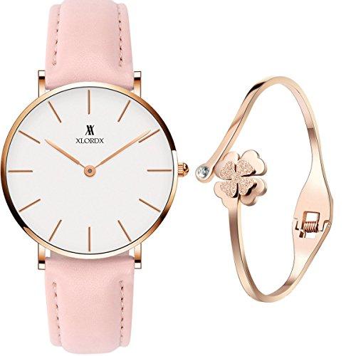 XLORDX Classic Damen Armbanduhr Analog Quarz Rosa Leder Armband, Weiß Zifferblatt mit...