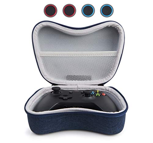 YSAGi Hard EVA Travel Case Portable Storage Bag with Mesh Pocket Compatible with Xbox One Controller and Xbox Controller Series with 4 Thumb Grips (Blue-EVA)