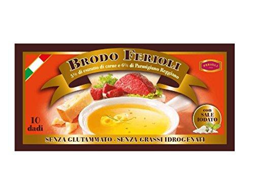 Ferioli - Brodo Estratto di Carne 5% Senza Glutammato e Senza Grassi Idrogenati 10 Cubi - Astuccio 110G - [confezione da 6]