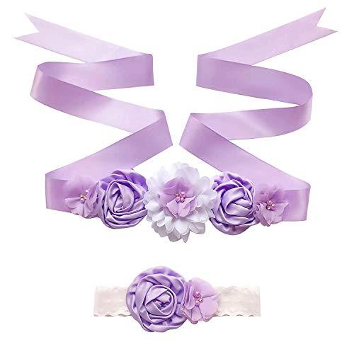 """Zaozc Kids Flower Sash Belt and Headband Flower Girls Dress Belt Floral Baby Shower Belly Sash 70"""" (4cm-Lavender)"""
