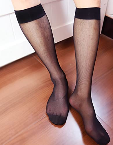 N\C 2Pack Herren Nylon Kleidersocken Transparente Streifen Business Tube Kleid Transparente Socken Transparente Socken Herrenstrumpf Nylon Spandex Kleidersocken