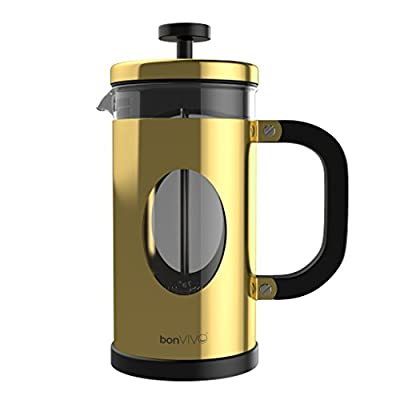 bonVIVO GAZETARO I French Press Coffee Maker, Stainless Steel Cafetiere with Glass Jug, Coffee Plunger with Filter, Manual Coffee Maker with Copper Finish, Coffee Press in Small (12 oz/0.35 l/350 ml)