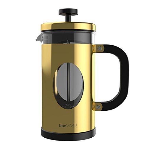 BonVivo® GAZETARO I Design-Kaffeebereiter Und French Press Coffee Maker, Kaffee-Kanne Aus Glas Mit Edelstahl-Rahmen, Kaffee-Presse Mit Edelstahl-Filter