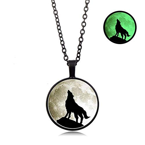 Gift Classic Wolf Pattern Glass Dome Alloy Pendant Necklace Glow In The Dark Necklace Charm Women Men Punk Jewelry Accessories (Metal Color : Black)