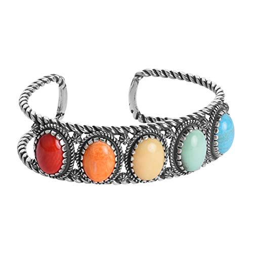 American West Sterling Silver Multi Colored Gemstone 5-Stone Rope Cuff Bracelet Size Large